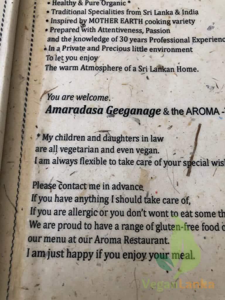 Cafe Aroma - Vegan Options on the menu in Hikkaduwa Sri Lanka