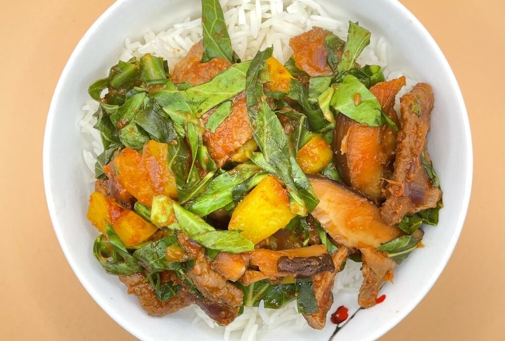 Vegan Beef (TVP) Curry with Rice