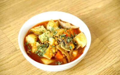 Lentil Mushroom Soup, Oil-Free and Vegan Using Pressure Cooker