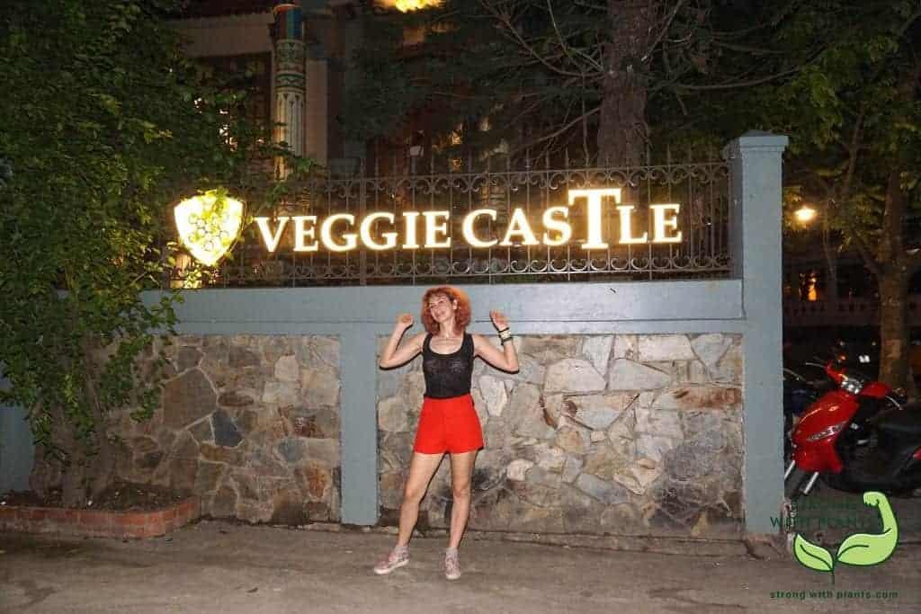 In front of the Veggie Castle in Hanoi Vietnam
