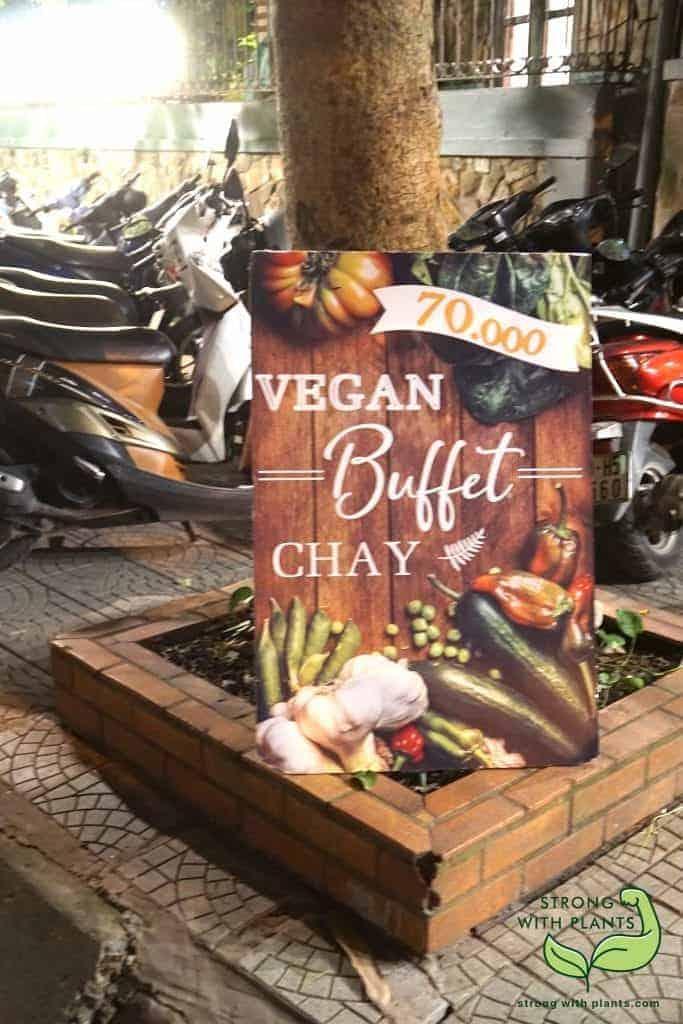 Ha Noi Vietnam: The Stand Is Advertising the Vegan Buffet