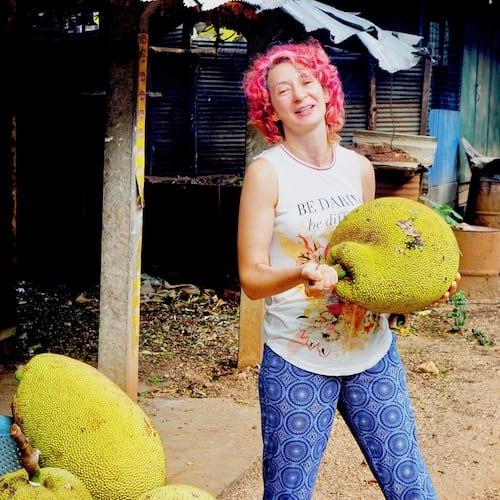 Inga carrying a large Jackfruit in Sri Lanka