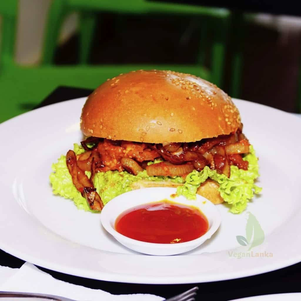 Vegan burger at the VOV lounge Sri Lanka