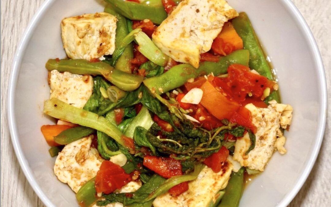 Stir-Fried Tofu with Leafy Greens and Tomatoes