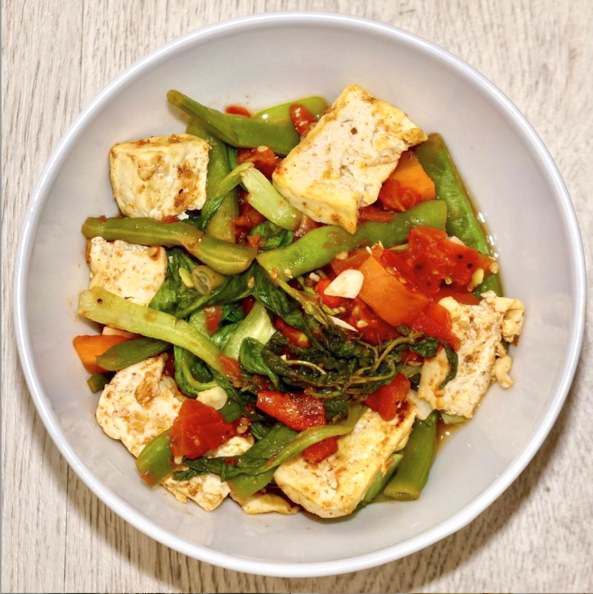 Stir-Fried Tofu with Mushrooms and Leafy Greens